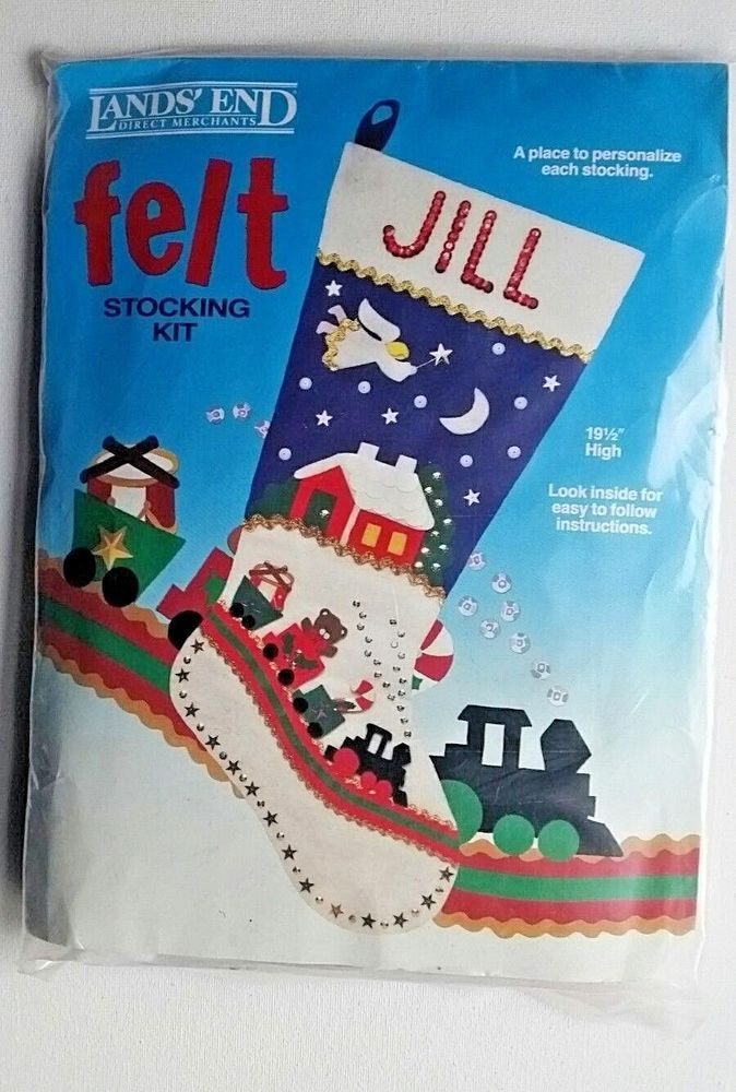 The 25 best felt christmas stockings ideas on pinterest diy train and angel felt christmas stocking kit sequins lands end craft solutioingenieria Images