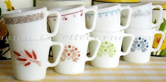 Pyrex 1410 mugs: Woodland Brown, Autumn Harvest, Burgundy, Ginger, Snowflake Blue, Honeydew, Ribbon Bouquet, Blueberry