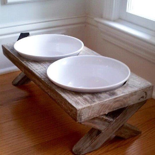 XL Farm Table Dog Bowl Dish Feeder, Raised, Distressed, Whitewashed, Reclaimed Wood, Rustic