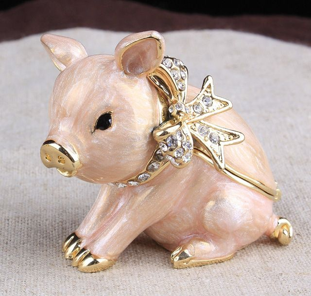 Small New Pig Jewelled Trinket Box Jewelry Box with Inlaid Crystal, Pill Box Figurine