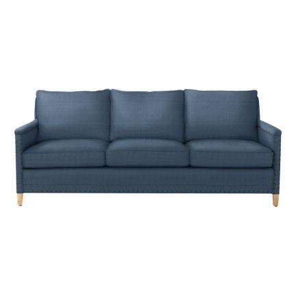 Custom Upholstered Spruce Street Sofa in Designer Fabrics | Serena & Lily INDIGO WASH LINEN