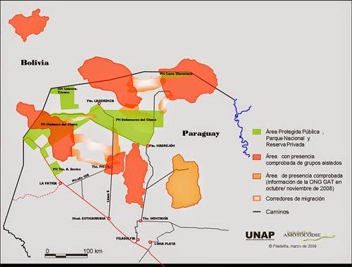 Areas de desplazamiento de los Ayoreos hasta el último lugar donde reclaman a Casado parte de su propiedad, al fijar en  esas tierras  a los Ayoreos desplazados y ,ahora, manejados `por Survival. ¿Porque no concentrarlos en las zonas de Area Protegida Pública en el Norte donde sí estaba su habitat natural, incluyendo a Brasil y Bolivia?