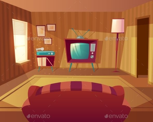 Vector Cartoon Living Room With Sofa Room Interior Design Room
