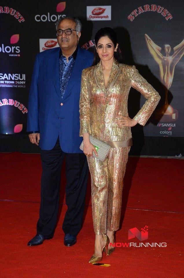 Boney Kapoor and Sridevi at  Sansui Stardust Awards Red Carpet