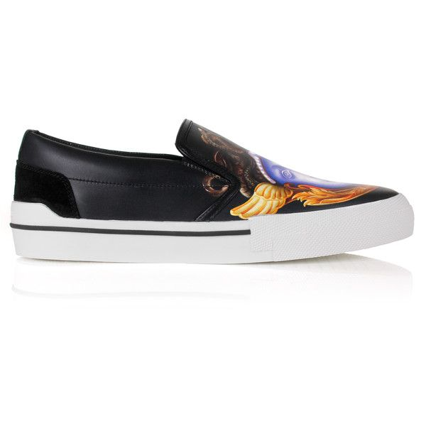 Versace Tryptych Ryden Medusa Slip-On Sneakers ($1,095) ❤ liked on Polyvore featuring men's fashion, men's shoes, men's sneakers, mens sneakers, mens slip on shoes, mens slip on sneakers, mens leather shoes and versace mens sneakers