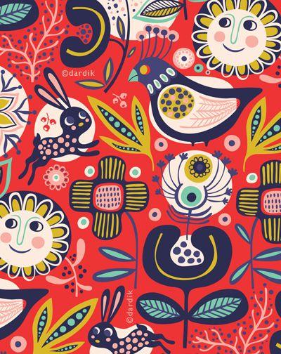 .scandi style kitsch pattern fabric vintage print cute childrens style folk art design