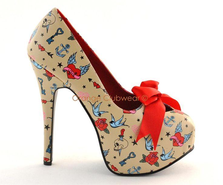rockabilly shoes | Pinup Rockabilly Tattoo Print Cream High Heels Shoes | eBay
