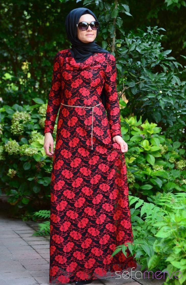 89.90 TL. Tesettür Elbise Kırmızı #sefamerve #tesettur #tesetturgiyim #elbise#yenisezon #2014 #Hijabdress #Hijab #newseason #tesettür elbise