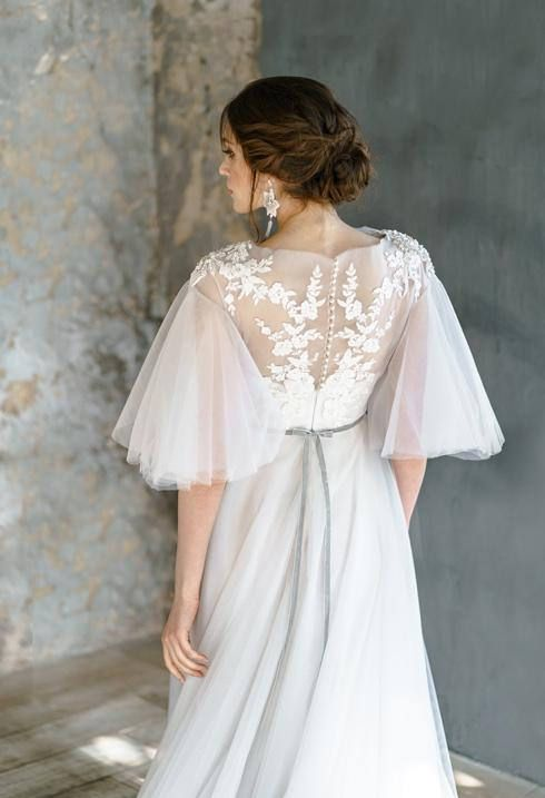 AVRELIA / Pearl wedding dress with rich beautiful hand embroidery lace low back corset brautkleid ethereal tulle bridal gown short sleeves
