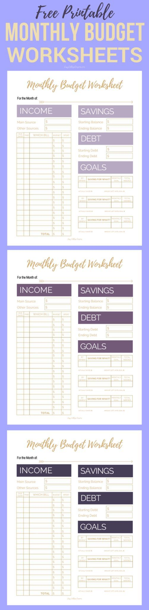 Free Printable Budget Sheets, Worksheets, Planner | Simple College Budgeting | Finance, Saving Money