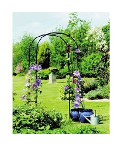 This metal #garden arch provides decorative support for climbing plants such as: honeysuckle, clematis and roses.    This garden rose arch is made from tubular metal and has a black polyester coated finish for durability.    Ideal to be used as a wedding arch for that special day.    Makes an ideal archway into your garden