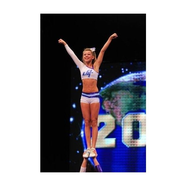 Cheerleading Stunt Arabesque, Liberty Cupie ❤ liked on Polyvore featuring cheerleading, cheer and site models
