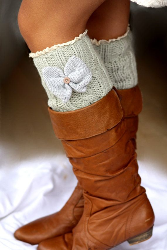 Another Pinner:Bow Leg Warmers, knit leg warmers.  Love Boots And All