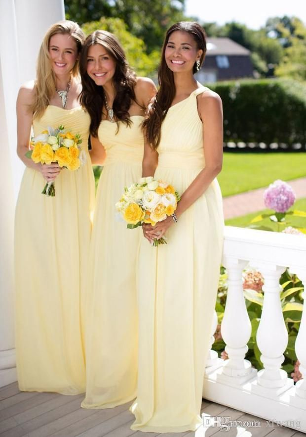 2015 Chiffon Bridesmaid Dresses Sweetheart Neck Column Yellow Chiffon Sleeveless with Pleats Zipper Back Floor-Length Evening Party Gowns Online with $93.46/Piece on Xfwang's Store | DHgate.com