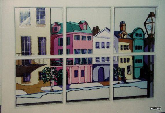 Rainbow Row Window Painting Charleston Art Original