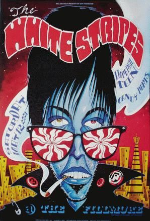 ☮ American Hippie Rock Metal Music Poster ~ the white stripes, imperial teen and candy parts - gig