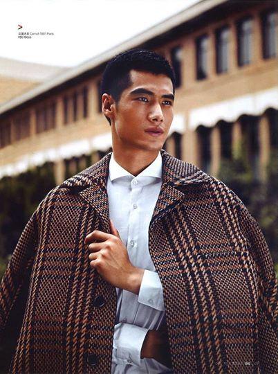 CERRUTI 1881 PARIS : Wool/Alpaca Macro Check Coat  BAZAAR MEN Asia October 2014