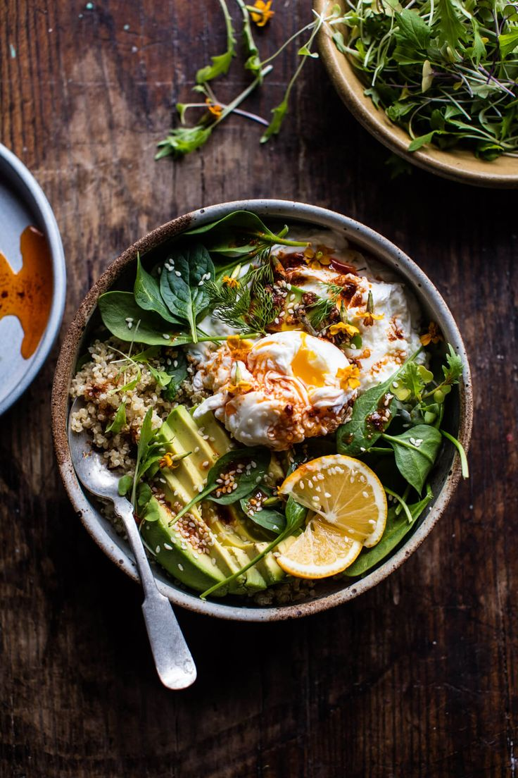Turkish Egg and Quinoa Breakfast Bowl - Just prepare everything in advance & assemble in the morning...or at lunch...or dinner!  @halfbakedharvest.com