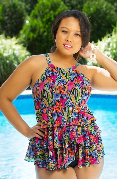 The Brush Stroke Mesh Hi Neck Tiered Top #404280 by Fit 4U Swim could very well be adapted from one of Monet's floral painting.  It is that good.  The colors are vibrant and blend well together cre