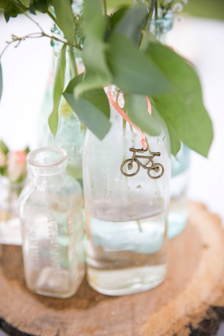 DIY bicycle themed wedding centerpiece