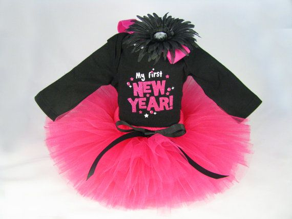 Baby Girl New Year Outfit - Babys New Year Tutu Set - Girls Tutu Bodysuit Headband Set - My First New Year - Size Newborn on Etsy, $38.00