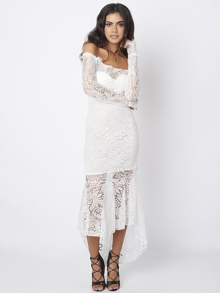 White Sexy Women Long Sleeve Lace Off Shoulder Fishtail Maxi Dresses at Banggood