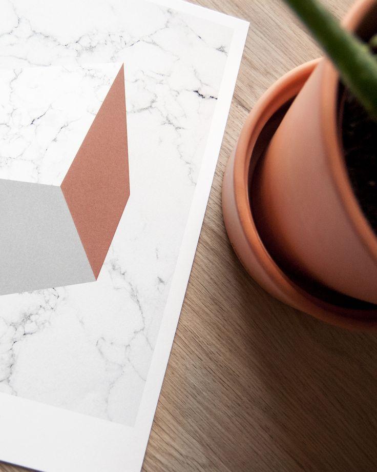 Geometric Sqaure #geometricposter #warmblush #terracotta #marble #marbletexture