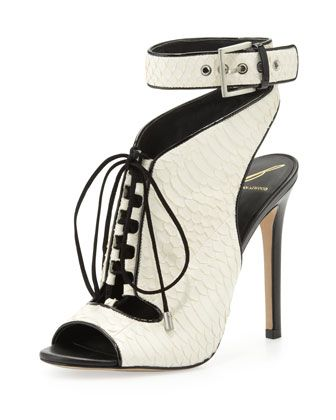 Lodosa+Lace-Up+Snake+Sandal,+White/Black+by+B+Brian+Atwood+at+Neiman+Marcus.