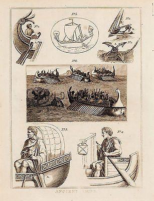 "CALMET'S BIBLE DICTIONARY - ""ANCIENT SHIPS"" - Copper Engraving - 1801"