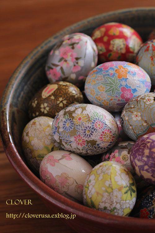 「友禅和紙で作るイースターエッグ」卵が主役のイースター、和紙を使ってイースターエッグ作りました[材料]卵殻/友禅和紙(約15cmX8cm)
