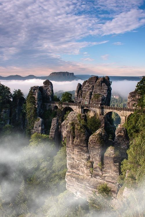 Bastei Bridge in the Elbe Sandstone Mountains, Germany Visit also Lilienstein, one of several small mesas in Saxony - it's surreal to watch the fog roll over.