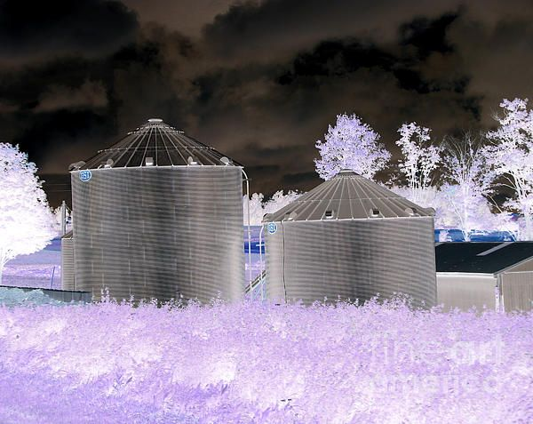 FOR SALE! PHOTOGRAPHIC ART!  .....   Grain Silos Oneida New York Inverted Effect  .......  #art #photography #interiordecoration #phonecases #cards #RoseSantuciSofranko #rural #farming #barns #silos #Oneida #NewYorkState