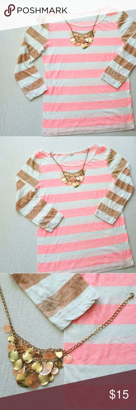 JCrew 3/4 Striped Tee w FREE Matching Necklace! Matching Necklace is FREE with purchase of this tee!  Coral and bronze In GREAT condition   Wear it with Jeans or slacks!   NWOT  FAST SHIPPING  TOP RATED SELLER  Create a bundle of items and get a Private discounted price offer from me   100%cotton J. Crew Tops