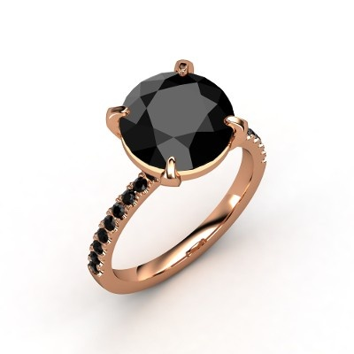 Round Black Diamond 14K Rose Gold Ring with Black Diamond - Candace Ring | Gemvara