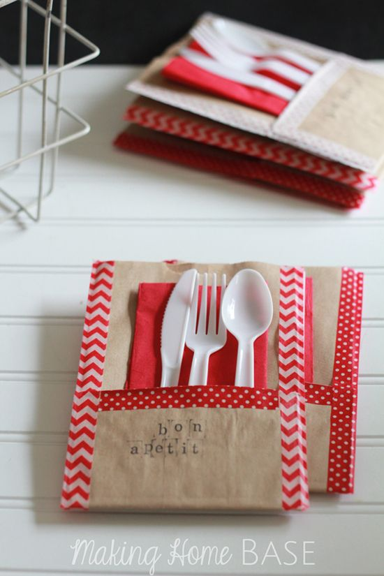 Paper Bag Utensil Holder. Great for picnics or tailgating. You can use the paper bags to put your trash inside when you're all done - or to take home left-over treats!