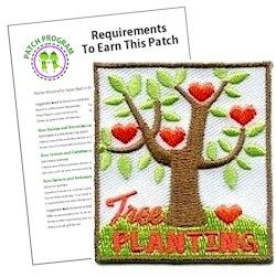 Tree Planting Fun Patch. Help save the earth and plant a tree. Whether your Girl Scout troop plants one for Earth Day, Arbor Day or any day this patch is the perfect reward. Download our free suggested requirements. Available at MakingFriends.com