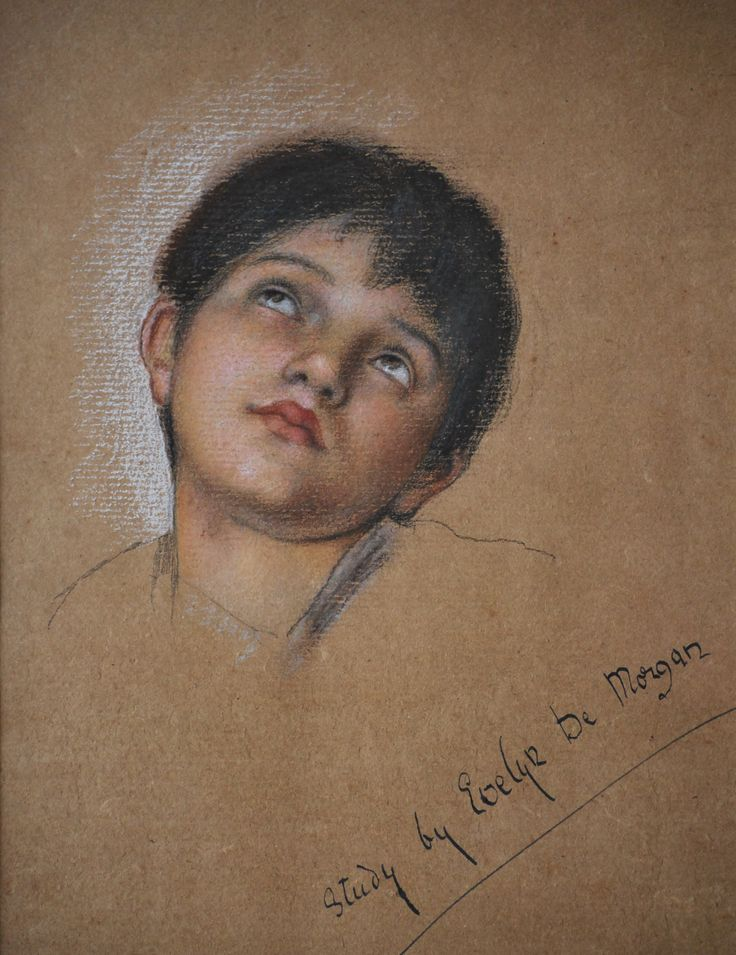 Evelyn De Morgan -Study for 'Our Lady of Peace' (male child) Pastel on brown paper. | The De Morgan Foundation
