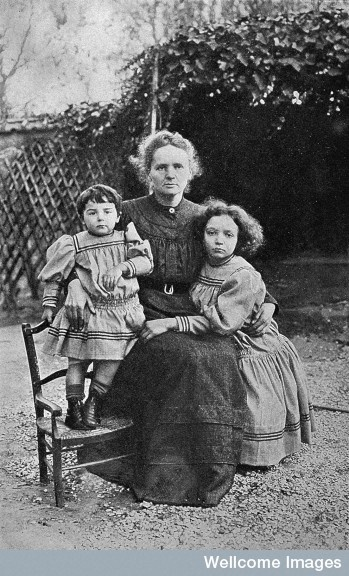 Portrait of Marie Curie, and her two daughters, Eve and Irene, in 1908~ Nobel Prize Winner 1935