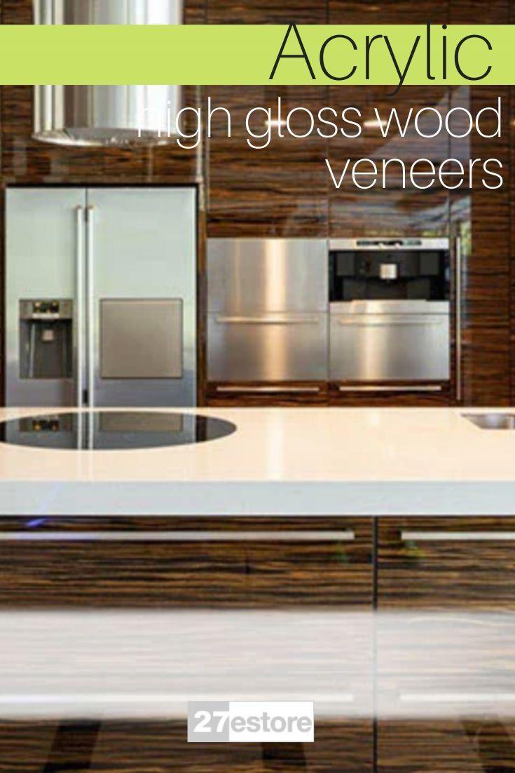 High Gloss Wood Veneer Cabinet Doors In 2020 High Gloss Kitchen Cabinets Kitchen Cabinet Colors Gloss Kitchen Cabinets