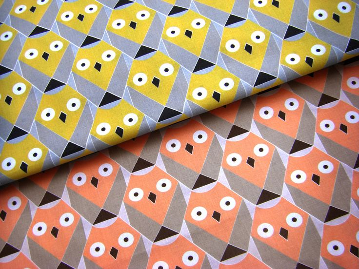 100% Cotton Fabric - Geomatric Owles in yellow or orange - Curtain Fabric Cotton Print Fabric by Fat Quarter Half meter