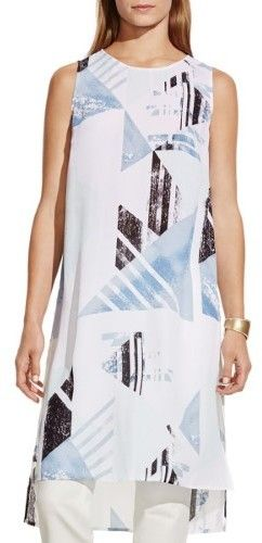 Vince Camuto Womens Printed Sleeveless Tunic Top
