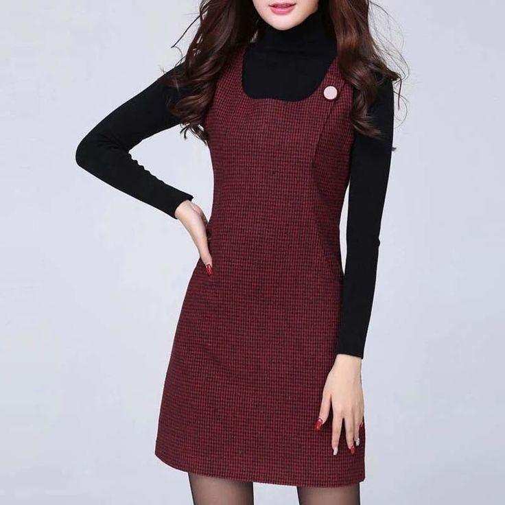 HEE GRAND Vestidos New Arrival Plaid Sleeveless Women Dress O-Neck Autumn Plus Size S-3XL Casual Dresses WQX321