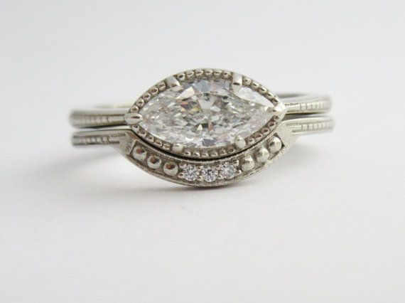 Marquise ring White Gold Diamond Ring Marquise Vintage Inspired Ready to ship Size 7 East to West Marquis