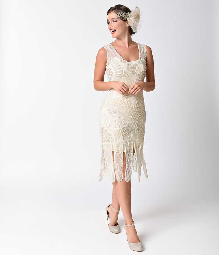 1920s Style Dresses Unique Vintage 1920s Style Ivory Beaded Sinclair Flapper Dress  Size XL $348.00 AT vintagedancer.com