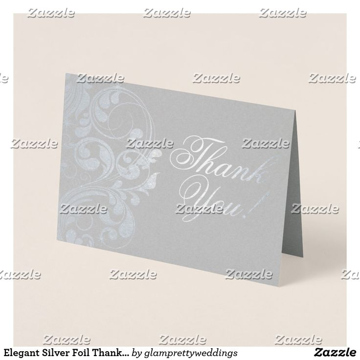 how to write thank you notes for wedding gift cards%0A Elegant Silver Foil Thank You Card