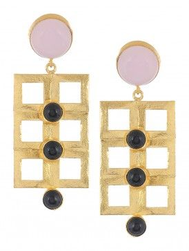Rose Quartz and Black Onyx Gold-plated Brass Earrings