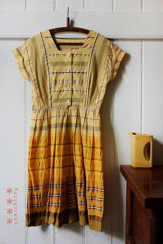 Vintage 1980's yellow gradient cotton dress - Small - Medium