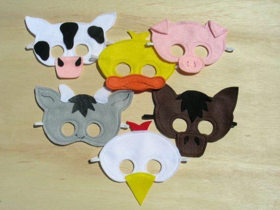 Child Size Farm Animal Masks by Mahalo on Etsy