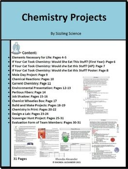 Chemistry Projects The Chemistry Project bundle contains fifteen chemistry projects with a suggested rubric for grading each project. This product can be edited so you can customize the instructions for your class. My students and I have enjoyed exploring chemistry beyond the classroom. Projects are great for motivation.