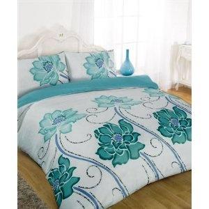 Teal Comforter King | SUPER KING SIZE - TEAL FLOWERS DUVET COVER BED SET: Amazon.co.uk ...